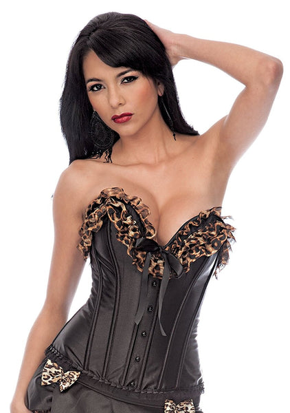 Womens Satin Leopard Ruffle Trim Black Exotic Corset