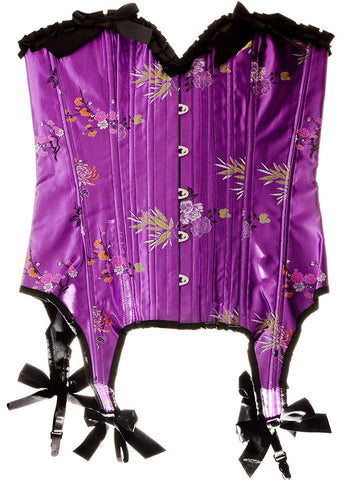 Womens Vibrant Purple Floral Brocade Corset with Garters