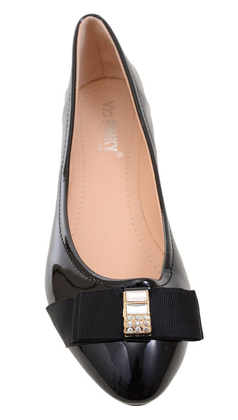 Jewel Black Patent-Trim Cadence Ballet Women's Flat