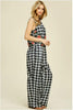 Womens Black Gingham Sleeveless Jumpsuit Romper w/ Embroidered Flowers