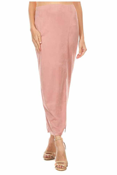 Womens Mauve Pink Midi Fitted Pencil Skirt w/ Slit
