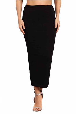 Womens Simple Solid Black Midi Elastic Waist Fashion Skirt