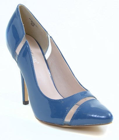 Clear Patent Pointy-toe Classic Pump Blue