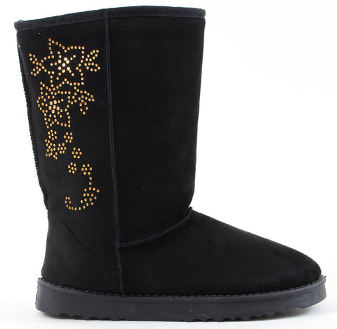 Furry Vegan Shearling Suede Fleece Women's Flat Boot