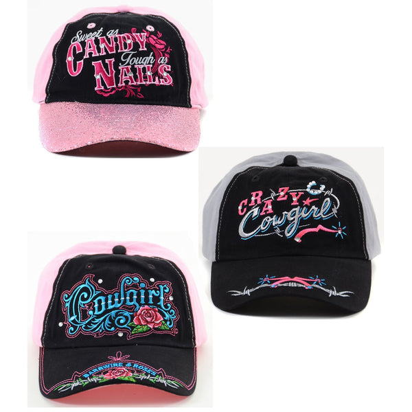 Cowgirl Embroidered Text Rhinestone Bling Womens Fashion Baseball Hat
