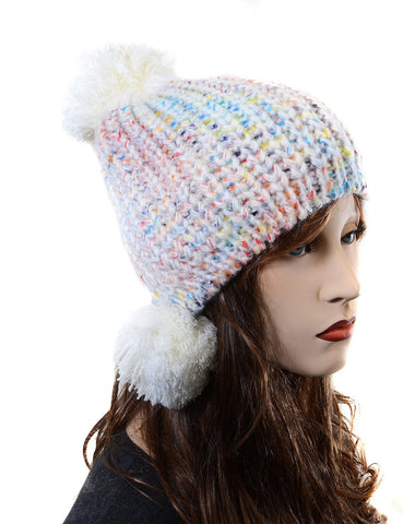 Rainbow Speckled Crochet Knit Unisex Triple Pom Fashion Beanie