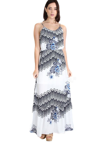 Geometric Floral Multi Print Spring Maxi Dress White