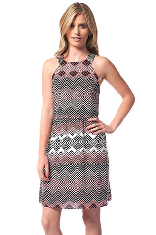Womens Fitted A-line Geo Racer Back Mini Dress