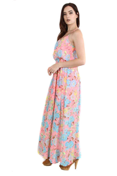 Womens Pink Floral Spring Maxi Dress with Lining