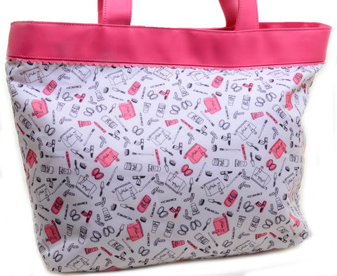 Womens Beauty Cosmetics Collage Fashion Large Tote Bag Carry On