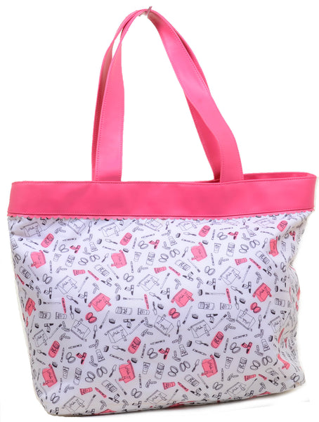 Looking for an adorable, but affordable Carry on Tote Bag? Look no further! This fashion bag can be used as your go-to everyday tote or pack all your essentials and use this over size bag as a carry on! It features a multi beauty cosmetic collage printed vegan friendly nylon, dual carrying straps with a magnetic snap closure and fully lined interior.
