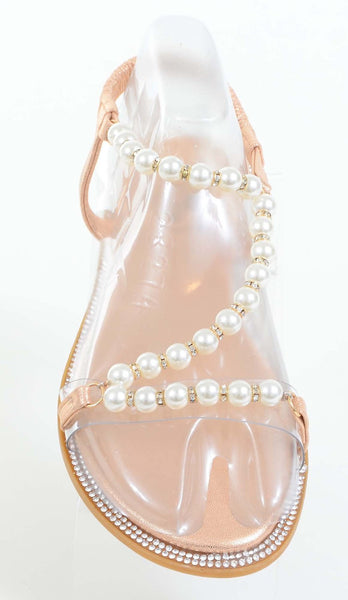Pearls Jewels Wedding Formal Bridesmaid Flat Sandal