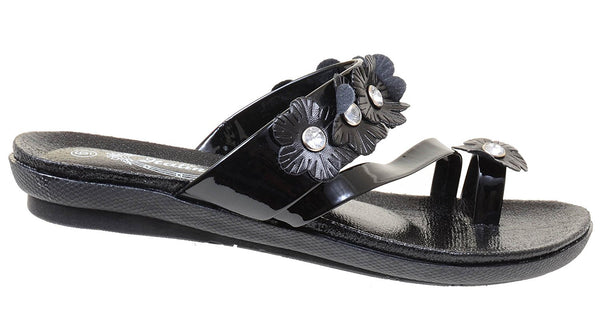 Flowers Toe-ring Wedge Slide Comfort Thick Sole Flat Sandals Women's Shoes