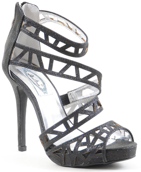 Glitter Cut-out Strappy Open Toe Platform Women