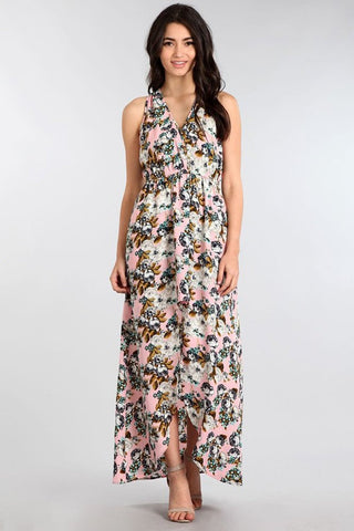 Floral Pink Asymmetric Hi-Lo Relaxed V-Neck Knit Maxi Dress
