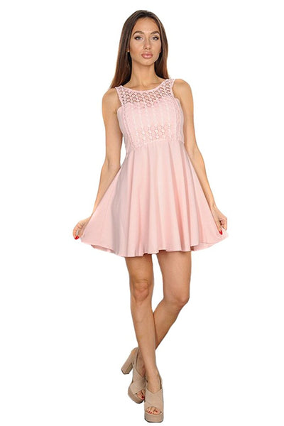Womens Flirty Pink Lace A-line Cocktail Mini Dress