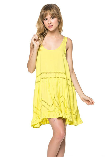Womens Lemon Ruffle Trim Short Spring Fashion Dress