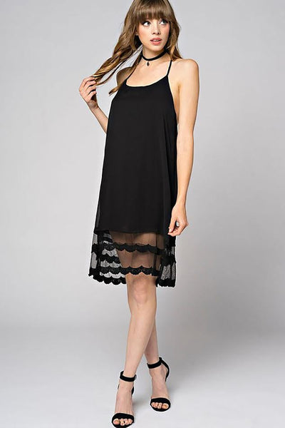 Black Floral Lace Trim Open Back Halter Fashion Dress