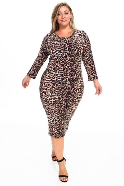 Womens Sexy Leopard Print Fitted Bodycon Plus Size Dress