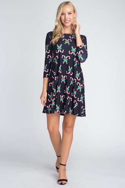 Holiday Christmas Print Womens Fashion Fit & Flare Swing Dress w/ Pockets