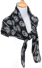 Load image into Gallery viewer, Womens Black White Skull & Spade Print Fashion Scarf Shawl