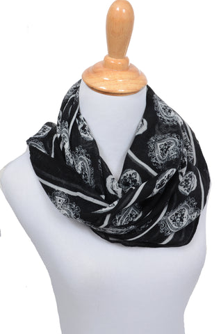 Womens Black White Skull & Spade Print Fashion Scarf Shawl