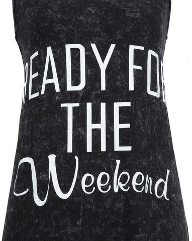Womens 'Ready for The Weekend' Long Fashion Maxi Tank Dress Black