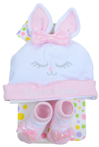 4987394c22590 My First Easter Baby Infant Sequin Bunny Sock   Beanie Set for Girls