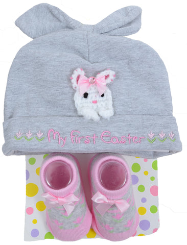 My First Easter Baby Infant Cute Bunny Sock & Beanie Set for Girls