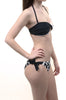 Black White Color Block Heart Sexy Womens Bikini Swimsuit