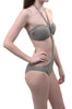 Olive Forest Green Metallic Beaded Monikini Womens Swimsuit