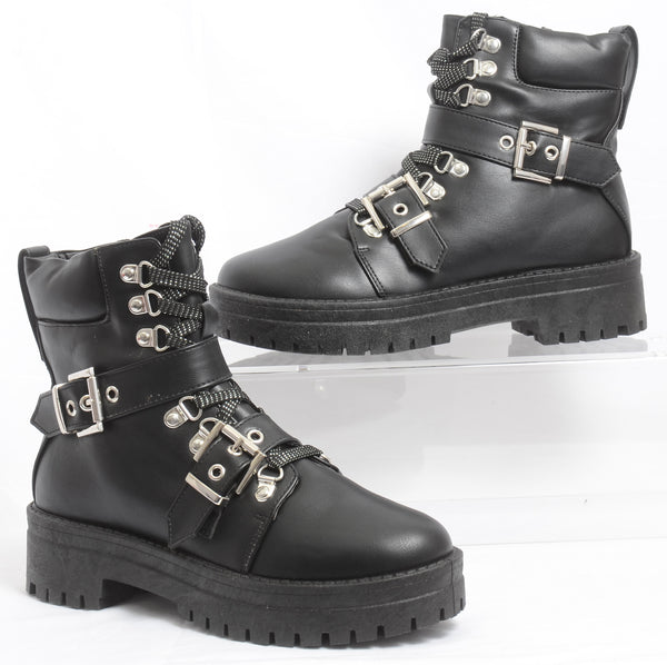 Lug Sole Lace Up Buckles Zippers Combat Boot