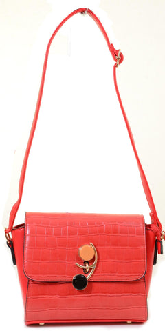 Red Mock Croc Vegan Leather Retro Inspired Valentine Crossbody Purse