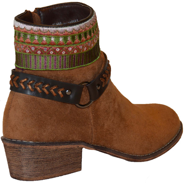 Colorful Embroidery Buckle Detail Chic Women's Vegan Booties Brown