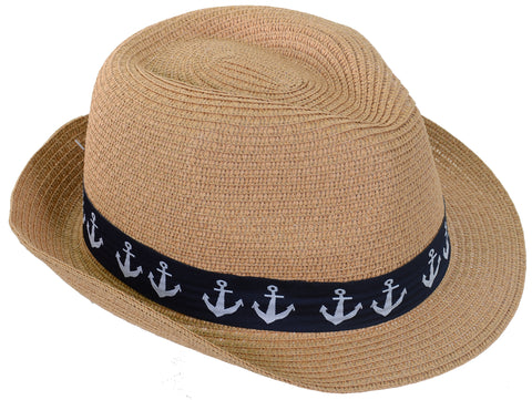 Nautical Anchor Banded Upbrim Raffia Fashion Fedora Straw Hat