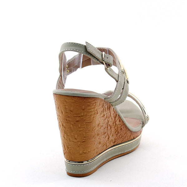 Metallic Ornaments Ankle Strap Buckle Platform Wedge Sandals Women's Heels