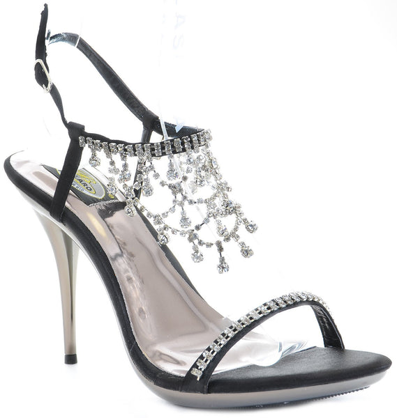 Cascading Rhinestone Evening Bridal Wedding High Heel Sandal Womens Shoes