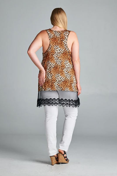 Brown Leopard Crochet Mesh Trim Plus Size Dress Top U.S.A