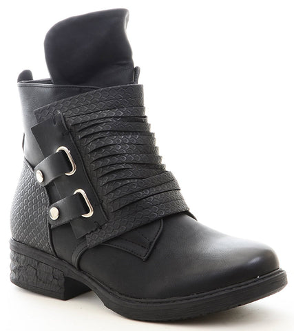 Fold Over Flap Buckled Strappy Biker Moto Bootie Women's