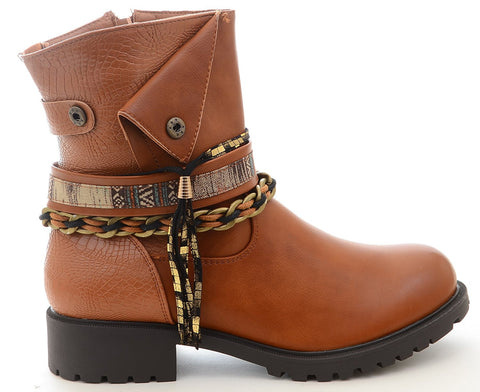 Braided Anklet Tassel Western Vegan Leather Women's Boots
