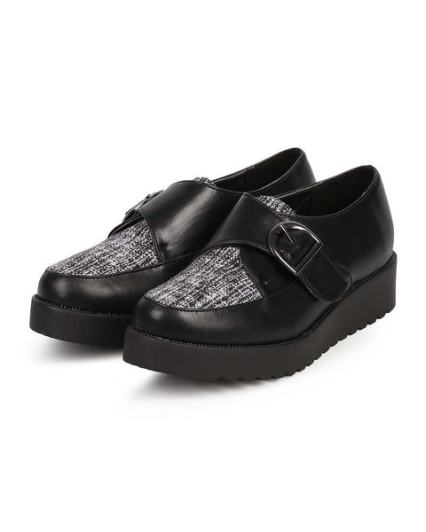 Leatherette Almond Toe Monk Strap Tweed Flatform Creeper Oxford