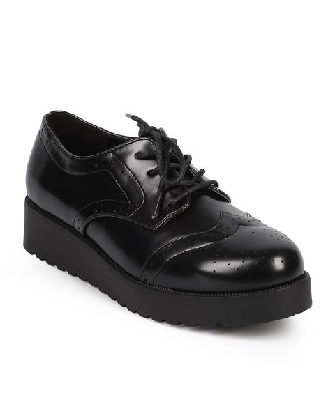Womens Leatherette Round Toe Wing Tip Rockabilly Brogue Creeper