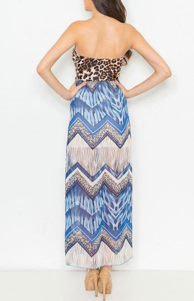 Blue Sweetheart Animal Print Double Layer Maxi Dress U.S.A