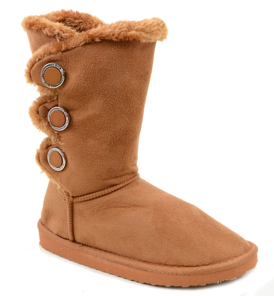 Furry Button Flat Black Tan or Brown Vegan Suede Women's Warm Slipper Boots