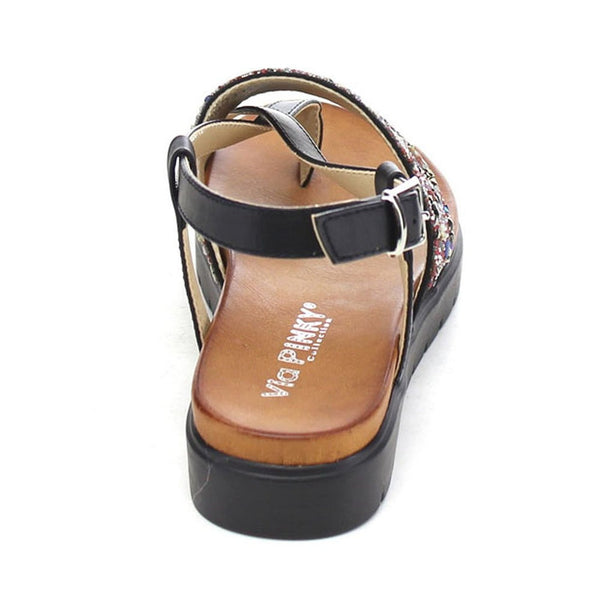 FALLON-04 Women's Open Toe Slingback Casual Thong Vegan Leather Sandal