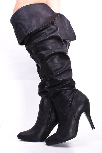 Pirate Ruched Fold Over Sexy Slouchy Boots Fourever Funky