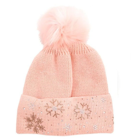 Fleece Bling Chunky Pom Pom Warm Winter Beanie