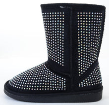 Load image into Gallery viewer, Girls Fur Rhinestone Faux Shearling Black Round Toe Ankle Boot KIDS