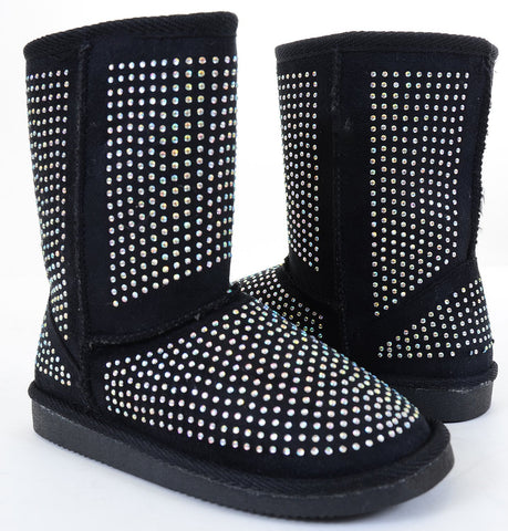 Girls Fur Rhinestone Faux Shearling Black Round Toe Ankle Boot KIDS
