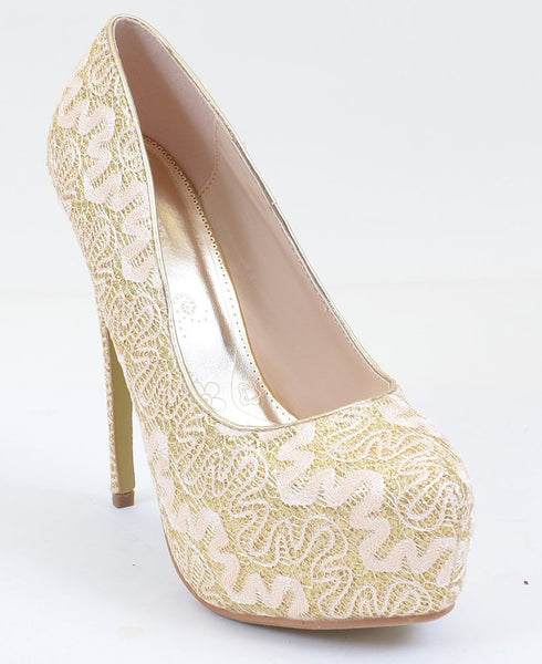 Lace Overlay Glitter Almond Toe Stiletto Platform Pump